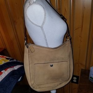 COACH LARGE SUEDE TAN LEATHER HOBO